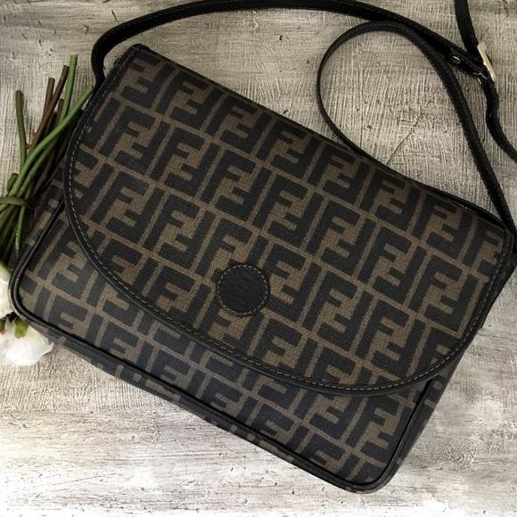 92138b9f20c4 Fendi Handbags - 🖤 Vintage Fendi Zucca Crossbody Messenger Bag